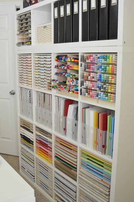 By pairing her IKEA Kallax shelf and St&-n-Storage products she sure has a winning combination for her craft room storage! & Paper Craft Storage in IKEA Shelving - Stamp-n-Storage
